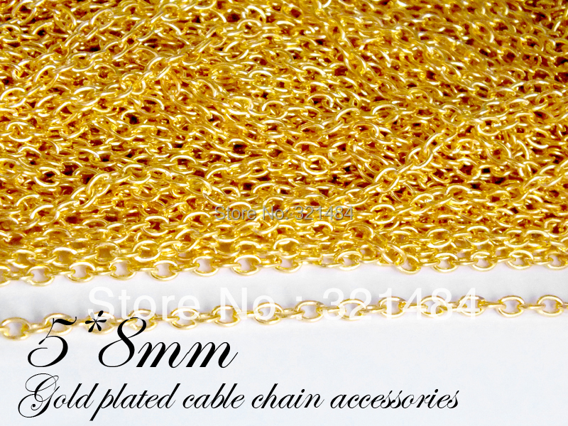 Free ship!!! Gold plated Tone Metal 5mm Oval Cable Chains, Jewelry link chains 100m in Bulk<br><br>Aliexpress