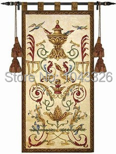 Home decoration tapestry wall hanging-vase of flowers and birds aubusson tapestries medieval mural jacauard fabric manly rugs
