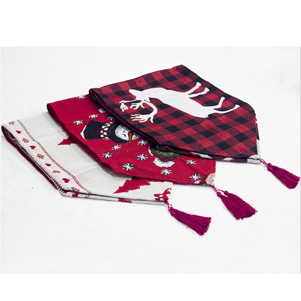Christmas Linen Table Runner Table Cloth Table Flag Christmas Tree/Reindeer/Snowman 180 x 35 cm