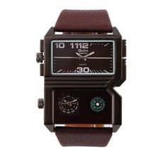 2015 New Design Oulm 3561 Men Military Sport Watch Dual MOvement Outdoor Army Wristwatch Compass Display