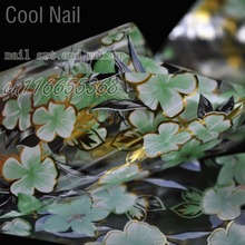More Than 250 Design Nail Wholesale Products Nail Art DIY Decal Flower Nail Glue Transfer Foil Beautiful Green Lily Gold GL31