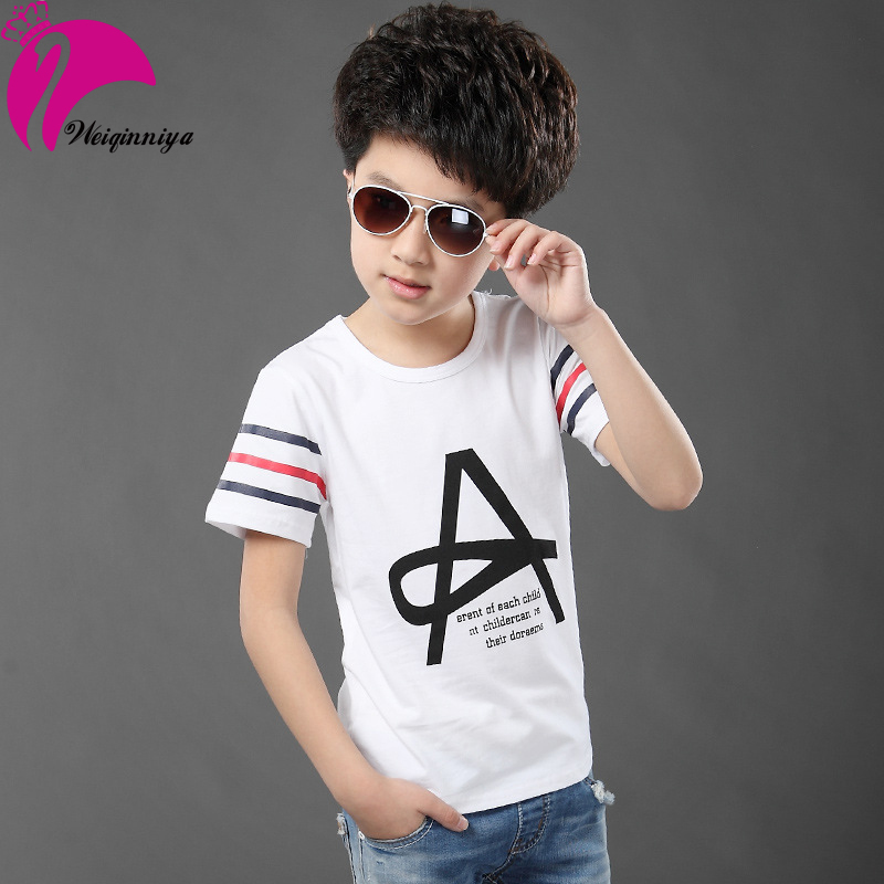 2016 Summer Boy T-shirt Letter Striped Fashion Cotton T-shirts Korean Style Short-Saleeved Cool Tops Baby Boy Clothes Infantis<br><br>Aliexpress