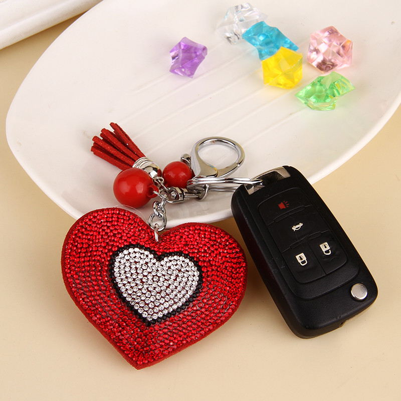 Lovely handbag fashion jewelry, key chain embedded rhinestone peach heart llavero leather gifts wholesale free shipping 5 colors