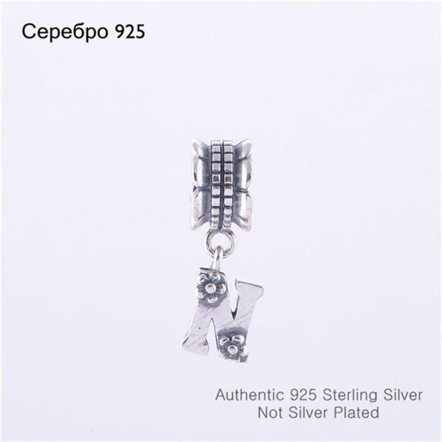 Подходит пандора браслет DIY создание аутентичные 100% стерлингового серебра 925 удача алфавит N бусины бренд очарование 2014 женщин ювелирные изделия