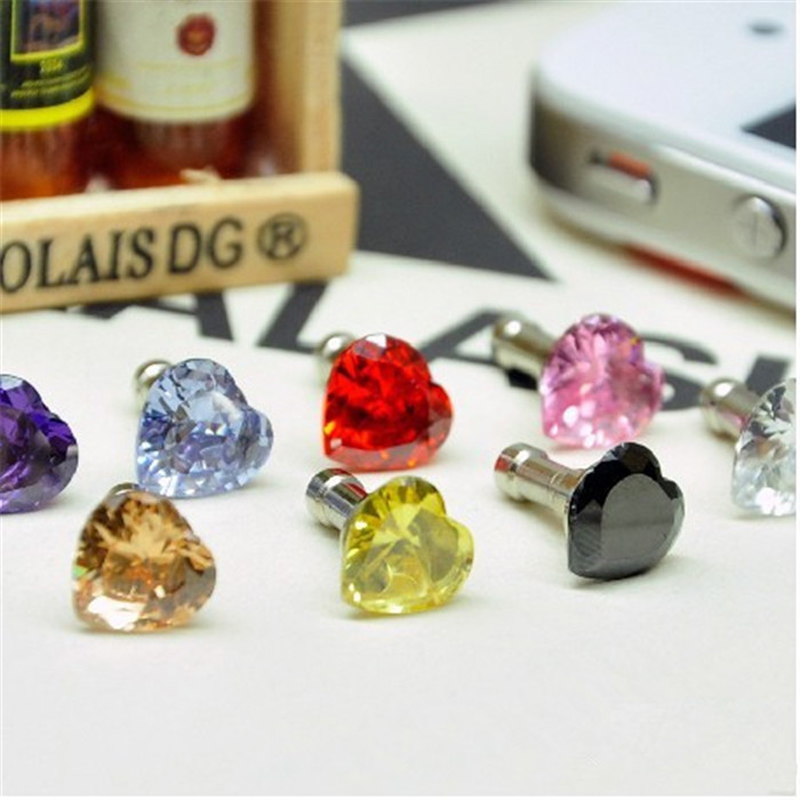 5pcs/lot Candy Color Acrylic Crystal Diamond Dust Plug Star Love Heart Mickey Headphone Jack For Iphone 6s Samsung Free Shipping(China (Mainland))