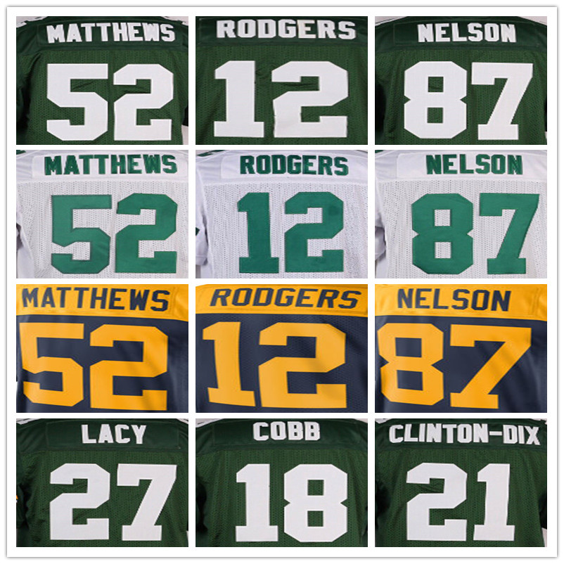 100% stitched Men's #4 Brett #12 Aaron #27 Eddie #52 Clay #87 Jordy jersey(China (Mainland))