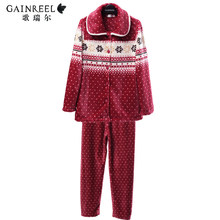 Song Riel winter flannel pajamas cute couple home service men and women outer wear comfortable suite