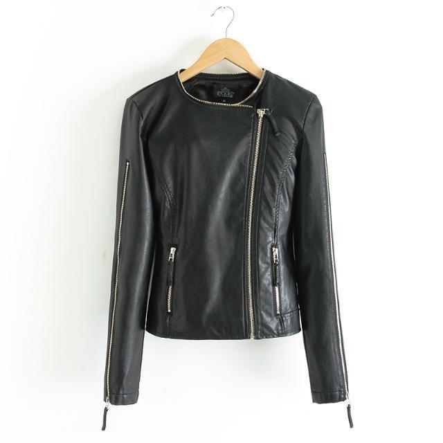 Весна осень женщины кожа куртка приталенный кожа пальто полиуретан мотоцикл куртка дамы кожа куртка пальто