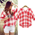 2016 New Arrive Women Plaid Cotton Checkered Shirt Short Blouse V Neck Shirts Tops Blusa Feminina