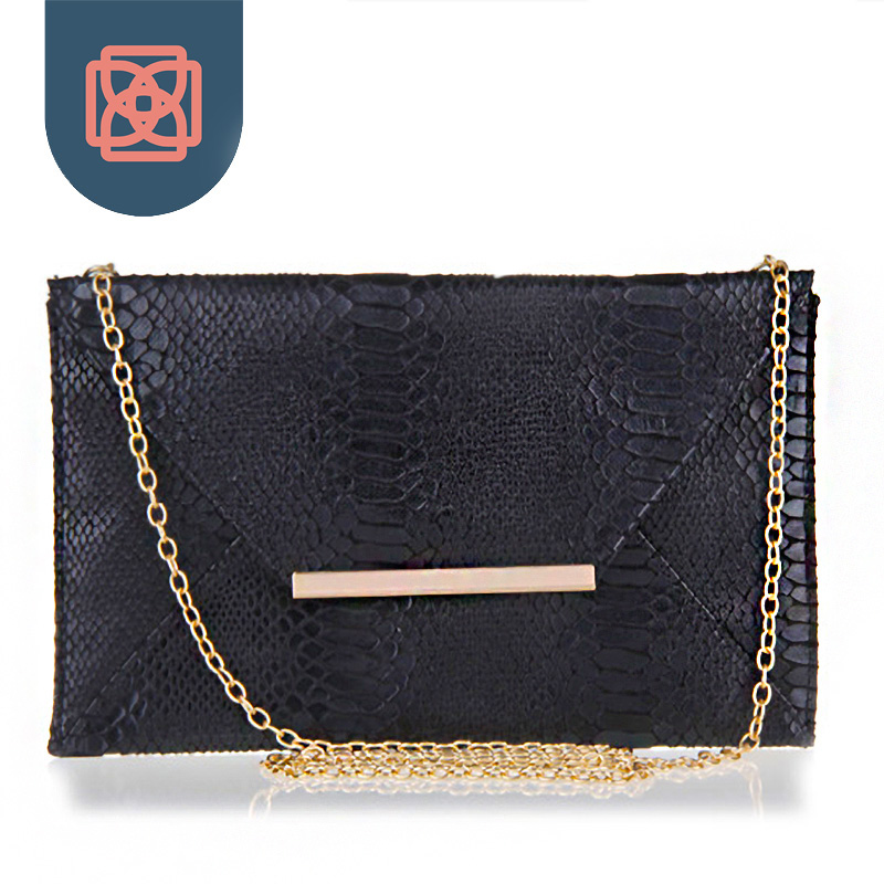 Sexy Snakeskin Purse 18K Gold Color Chain Club Clutch Hot Handbag Python PU Leather Night Out Envelope Bag(China (Mainland))