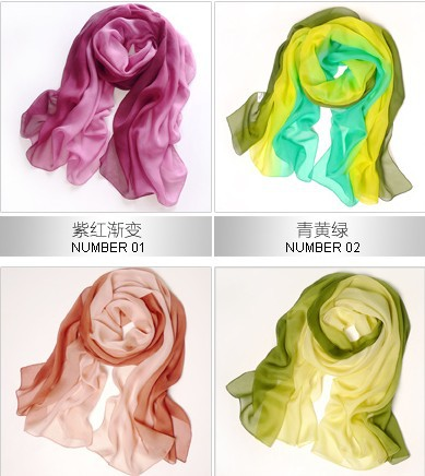 New 100% Mulberry Silk scarf women's long scarf 178*68cm Gradient Color 20 colors Elegant luxury Shawl(Hong Kong)