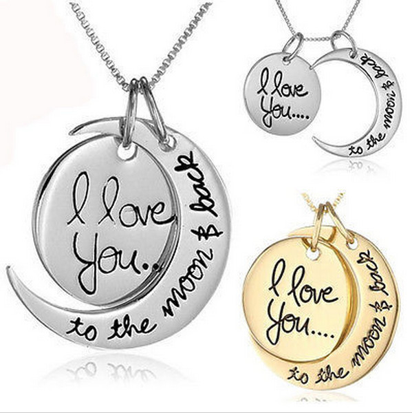 I Love You To The Moon and Back Necklace Fashion Necklaces Pendants Woman Jewelry Gift Vintage Chain Necklace.jewelry XL0001(China (Mainland))