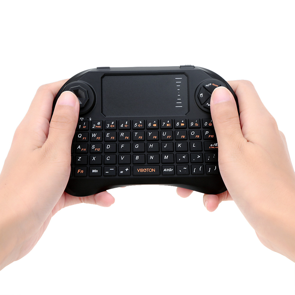 Mini Handheld 2.4G Wireless QWERTY Keyboard Mouse with Touchpad Joystick Remote Control for TV Box HTPC Laptop PC(China (Mainland))