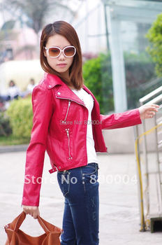 Free shipping 2014 womens pu red biker jacket  purple leather jacket with mental zipper