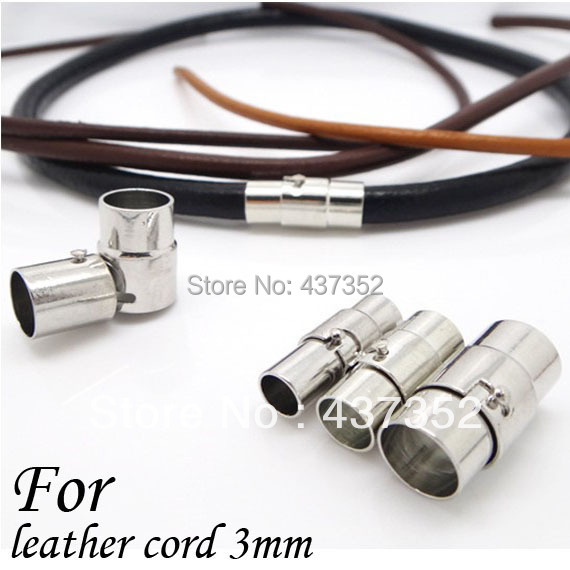 100piece/Lot Rhodium Plated 3mm Round Leather Cord End Caps, Leather Jewelry Tube Clasps, Slider Magnetic Clasps(China (Mainland))