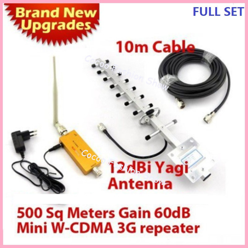 500 square meters, 3 g amplifier, 12 dbi yagi antenna cable + 10 meters cable 2100 MHZ 3 g WCDMA signal repeater UMTS booster(China (Mainland))