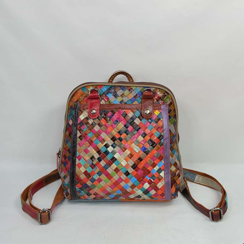 100% Natural Genuine Leather Bag Womens Fashion Woven Patchwork Backpack Multi-colored School 2015 - Sberry Bags store