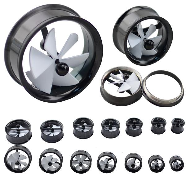 free shipping mix size 28pcs/lot plated black steel  novelty windmill ear gauage plug inner screw  body piercing jewelry<br><br>Aliexpress