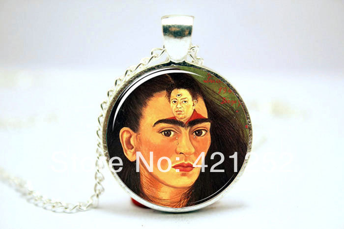 10pcs/lot Frida Kahlo Necklace, Feminists Artist Jewelry, Art Pendant Glass Photo Cabochon Necklace  2790<br><br>Aliexpress