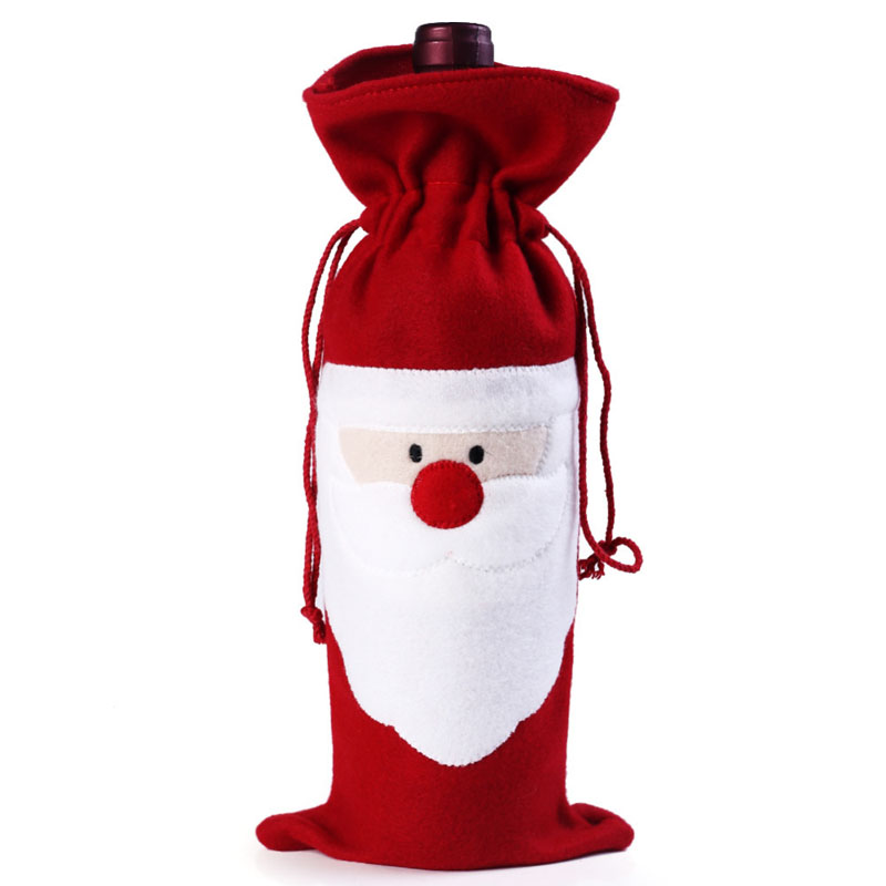 Wine Bottle Cover Bag Decoration Home Party Santa Claus Christmas Party Dinner Decoration Party Natale TB Sale(China (Mainland))