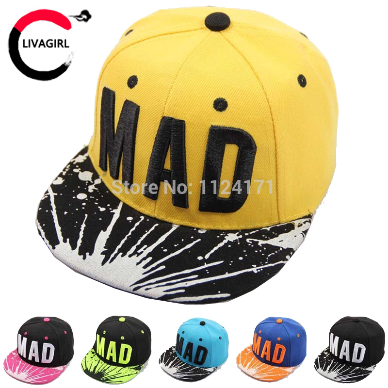 2016 Trend Snapback Bone Child Embroidery MAD Letter Baseball Caps Kid Boys And Girls Flat Hip Hop Cap(China (Mainland))