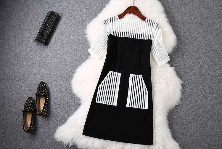 womens dress  Early Spring 2015 new styleSection bars Luoma Bu double patch pocket stitching dresses   LYJ013Одежда и ак�е��уары<br><br><br>Aliexpress