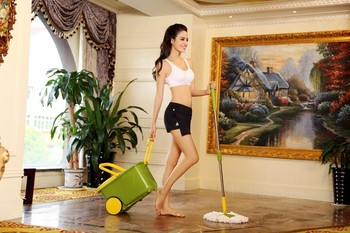 two wheels hand press spin go magic mop set