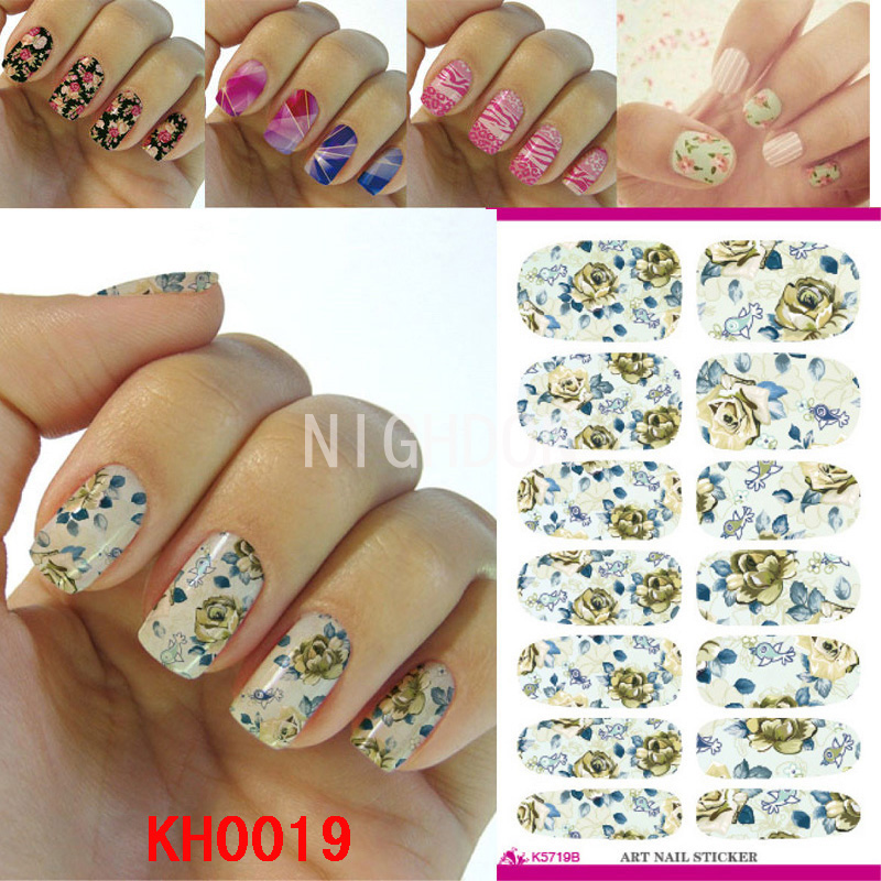 Flower Self Adhesive Nail Wraps Stickers Full Cover Nails Art Decorations Flower Nail Art Decals Stick On Nails Ru Decal NKH0019(China (Mainland))