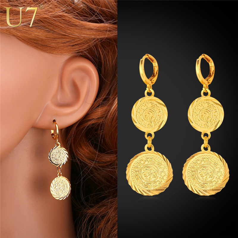 U7 Drop Earrings For Women Party Gift New Trendy 18K Real Gold Plated Antique Double Coin Gold Earrings Fashion Jewelry E674(China (Mainland))
