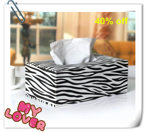 Guaranteed 100% High quality Zebra tissue box leather table paper napkin holder decorative tissue box cover tissue case holder(China (Mainland))