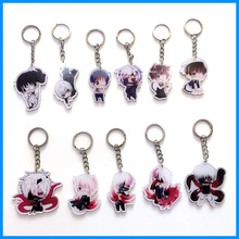 11pcs New Anime Tokyo Ghoul Kaneki Ken Blood Single-Eyed Costumes Cute Waiter Kaneki Ken Figure Keychain