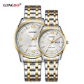 LONGBO Luxury Lovers Couple Watches Men Date Day Waterproof Women Gold Stainless Steel Quartz Wristwatch Montre