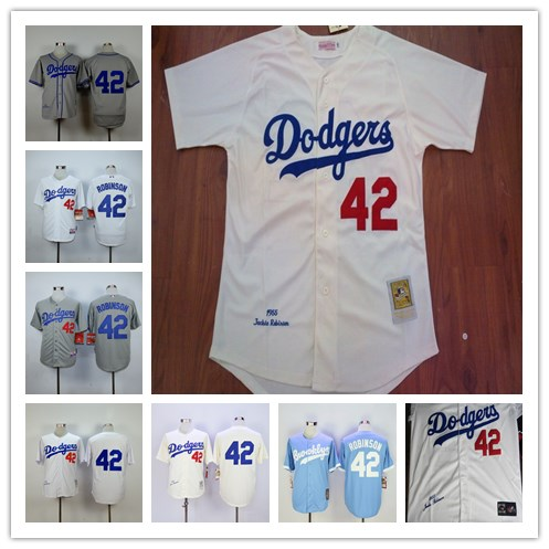 LA #42 Jackie Robinson Jersey 1955 Gray White Cream Blue Throwback Baseball Jersey Size:S-4XL(China (Mainland))