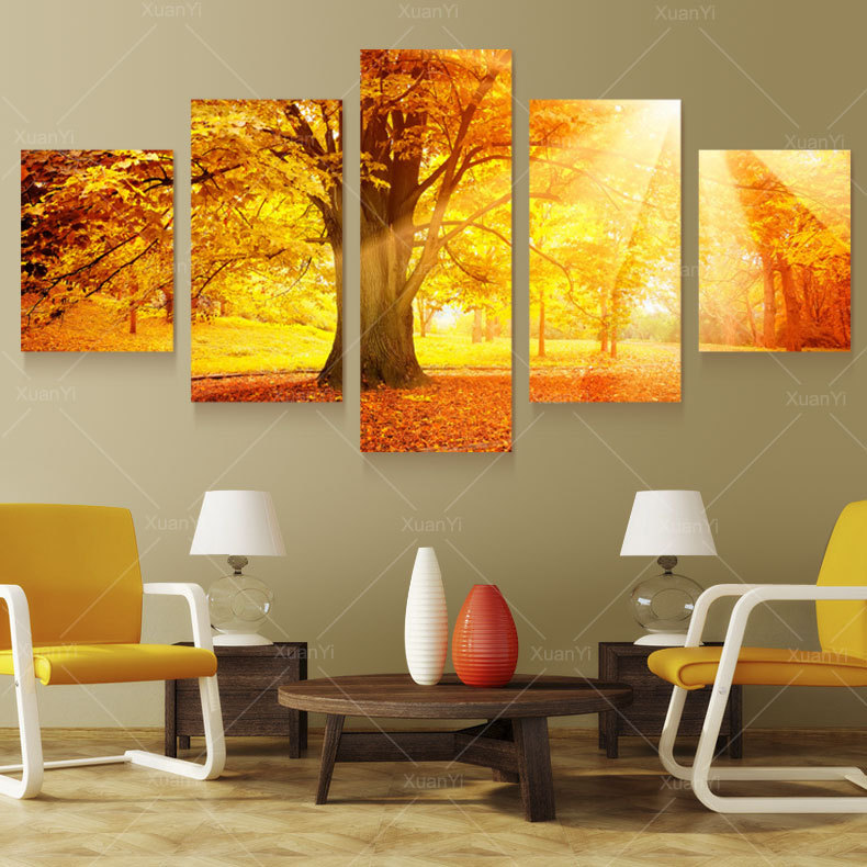 5 Panel Modern Tree Paintings Cuadros Pictures Blossom