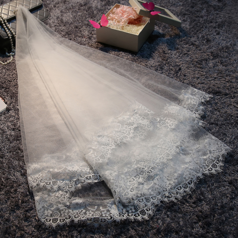 2016Bridal Veils Lace Edge Veil layers One-Layer Crafts Appliqued For people Adult(China (Mainland))
