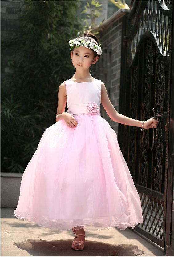 2015 Elegant Baby Girls Party Long Dress Sleeveless White