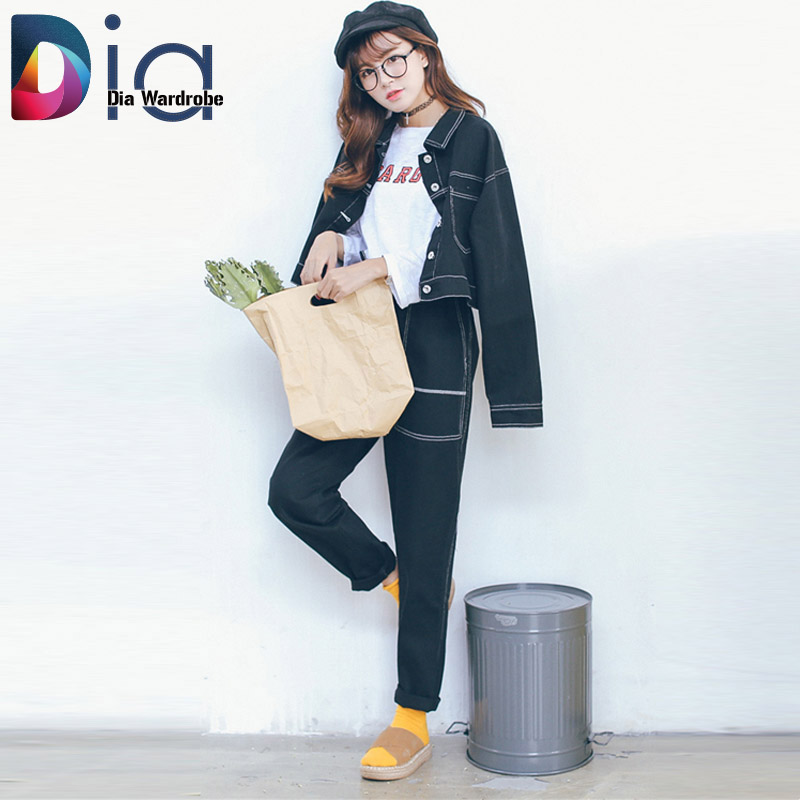 Dia Autumn New Arrival Jackets Women Fashion Jeans Coats High Quality Streetwear Black Solid Pockets Button Single Breasted N215Одежда и ак�е��уары<br><br><br>Aliexpress