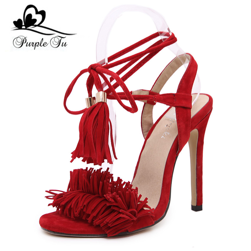 Pop stars same design latest 2016 sexy Tassel women sandals high heels Lady Casual Lace-Up dress party shoes for women and girl(China (Mainland))
