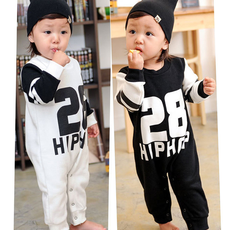 2015 baby clothing number 28 leter hip hop long sleeve girl romper /cotton costume rompers ! - Eva Kids World store