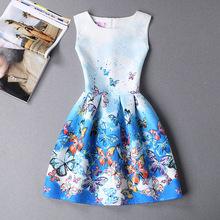 2XL New Brand Spring Summer Plus Size Women Print Floral Vest Dress Sleeveless A Line Party Fashion Dresses Vestido De Festa Hot(China (Mainland))