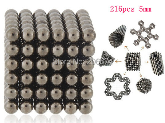 DIY Buckyballs Neocube 216pcs 5mm Magic Beads Magnetic Toy Education Toy 5 colors Free shipping(China (Mainland))