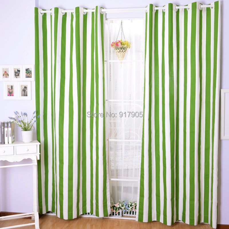 2014 new fashion green and white striped sheer curtains for living