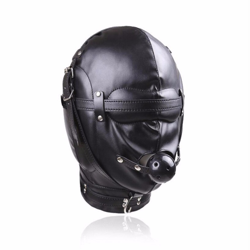 PU Leather Hood Mask with Hollow Gag Sex Blindfold Soft Headgear Harness Sex Toys Head Bondage Restraints Sex Game Sex Products