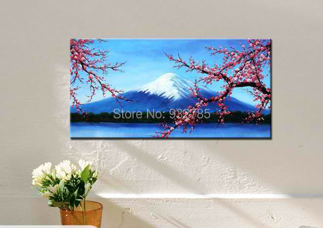 100% Handmade Oil Painting On Canvas abstract Mount Fuji Snow scene, Japan Cherry blossoms Wall Art ,Top office Home Decoration(China (Mainland))