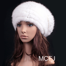 Genuine mink fur hat for women winter female skullies ear protector 2015 top high quality keep