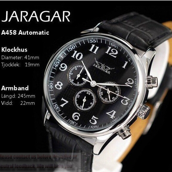 Luxury Brand Jaragar Men's Fashion Leather Strap Watches Date Day Display Automatic Mechanical Self-Wind Watch Male Clock(China (Mainland))