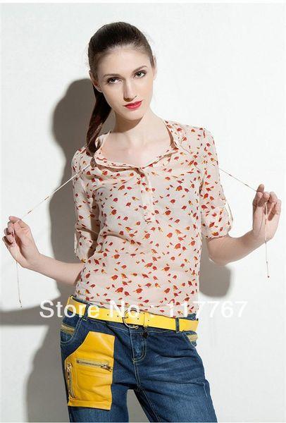 2016 Summer Chiffon Blouse Lady Apricot Long Sleeve Red Bird Print Womens Shirt Tops KH651088 - Fashion Value Store store