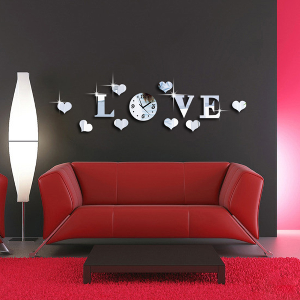 New Creative Romantic Acrylic Mirror Effect LOVE Letter Decal Wall Sticker Clock Mechanism Decoration(China (Mainland))