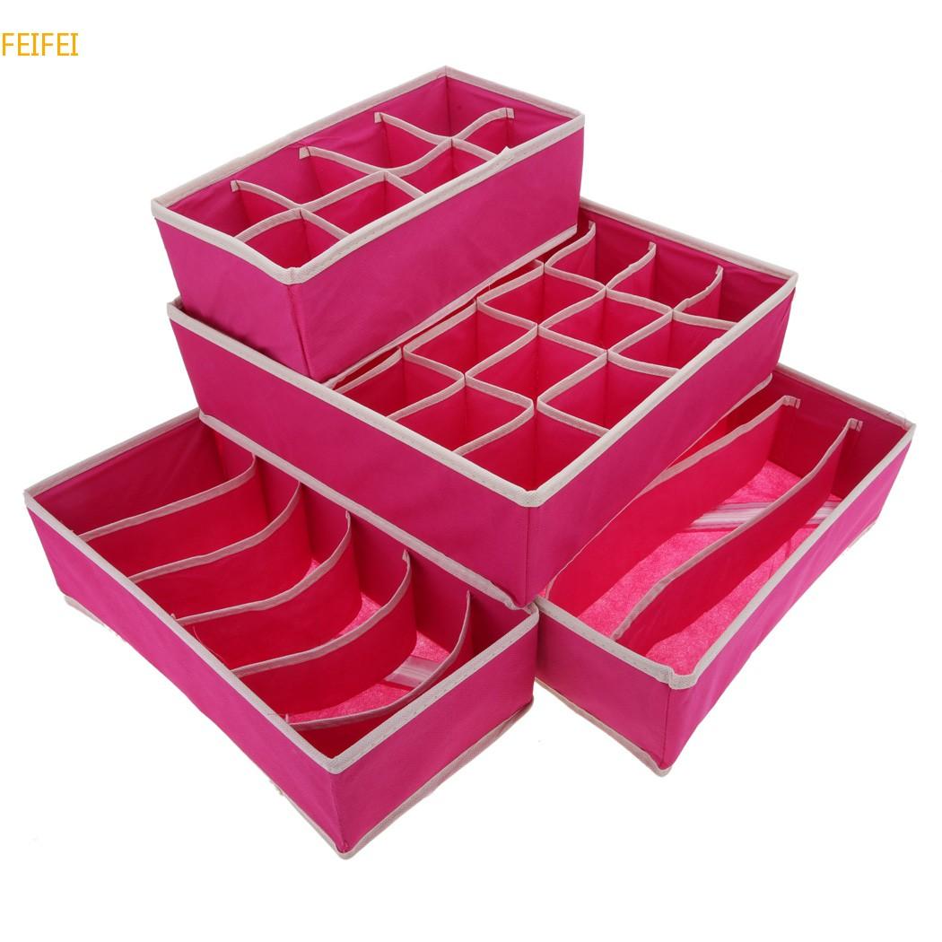 4pcs Ties Socks Shorts Bra Storage Box Drawer Divider Closet Home underwear organizer storage box storage system Set(China (Mainland))