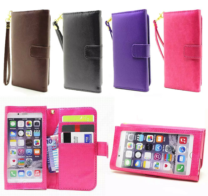 High quality Mobile Phone Handbag Wristlet Strap Crazy Horse Leather Wallet Pouch Flip window Case Cover For Xiaomi mi4 m4 5.0(China (Mainland))